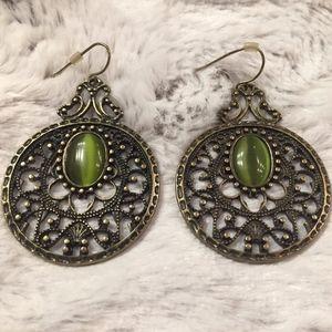 Jewelry - Gold Boho Earrings w/ Green Stone